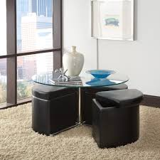 standard furniture cosmo adjule height round glass top coffee table with 4 storage ottomans hayneedle