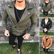 Inc International Concepts Men S Jackets Size Chart New Mens Leather Jacket Slim Fit Biker Motorcycle Jacket