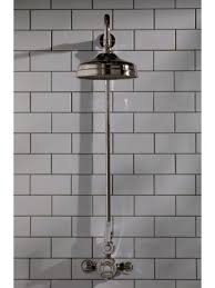 the cast iron bath company exposed shower valve rigid riser and 6 rose polished