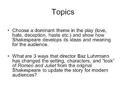 romeo and juliet essay test topics for the essay romeo and 3 topics