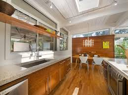 Architecture, Charming Wooden Kitchen Island Mid Century Ranch Also  Stainless Steel Sink Plus Modern Track Lighting And Refrigerator With Oven:  Beautiful ...