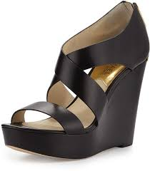 michael michael kors michl michl kors elena leather wedge sandal black