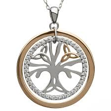 irish necklace real irish gold sterling silver celtic tree of life pendant by house