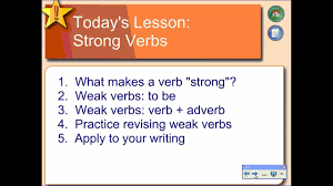 Using Strong Verbs In Writing Youtube