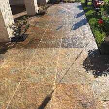 before after cleaning limestone patio