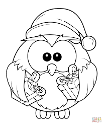 Christmas Owl With Gift Boxes Coloring Page Free Printable