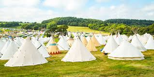 camp bestival bell tents and tipis in camping