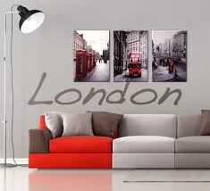 on wall art black white and red with london cityscape 3 piece printed wall art