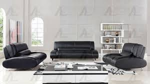 black faux leather sofa set ae728 bk