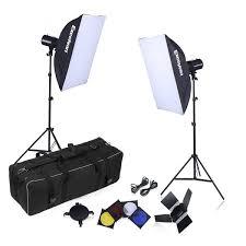 excelvan 500w strobe studio photography photo flash light kit strobes barn doors light stands triggers soft box