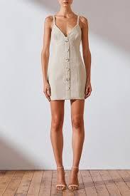 Savannah Linen Mini Dress Natural