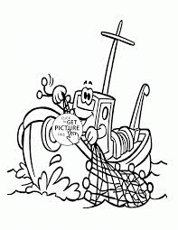 Small Picture Cartoon Fishing Boat coloring page for kids transportation