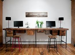 Reclaimed-wood desk. Pipes, reclaimed wood and vintage crates combine to  make this one-of-a-kind double desk. When attached to drawer fittings, ...