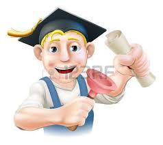 Водопроводчик или дворник с раствором борту выпускник колпачок с  Водопроводчик или дворник с раствором борту выпускник колпачок с получение диплома или другого квалификации Клипарты векторы и Набор Иллюстраций Без