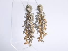 <b>Silver</b> Fringe Earrings - Beaded Corals - <b>Seed Bead</b> Tassel Jewelry ...