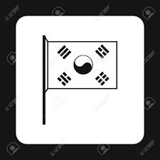 白い背景に分離されたシンプルなスタイルで韓国旗のアイコン状態シンボル ベクトル図