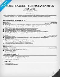 Resume Examples Maintenance Mechanic Resume Template Job