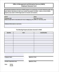 Employee Clearance Form New 44 Sample Employee Clearance Forms Word PDF Sample Templates