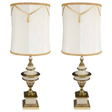 stiffel neoclassical style urn form lamps in enamel and brass pair