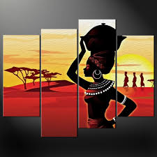 african lady sunset canvas print picture wall art