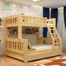Solid wood bunk bed children bed wooden bed upper and lower level students  lash bed fluctuation