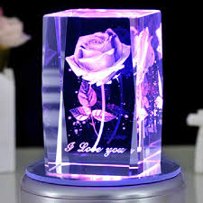 Rose 3D Laser Engraved <b>Crystal</b> Block <b>Glass</b> Led Engraving Cube ...