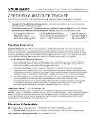 Substitute Teacher Resume Extraordinary Sample Substitute Teacher Resume Substitute Teacher Report Sample