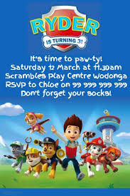 birthday invitations samples paw patrol party invitation template postermywall