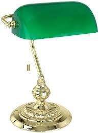 traditional polished brass banker desk lamp with green shade dark table full size