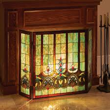 stained glass hearts decorative three panel fireplace screen com