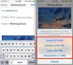 resize photos from iphone by mailing