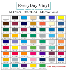 Oracal 651 Color Chart Color Chart Oracal 651 Chart Everyday Vinyl