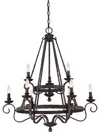 noble 9 light candle style chandelier rustic black