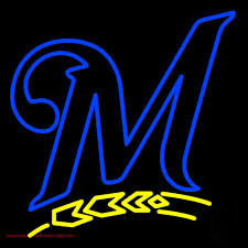 milwaukee brewers logo. milwaukee brewers m logo neon sign
