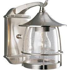 progress lighting p5763 09 prairie brushed nickel one light outdoor wall lantern