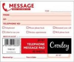 Telephone Message Croxley Jd197 Telephone Message Pad 45 Sheet 5 Pack R311 00