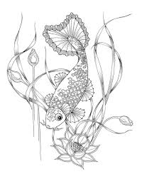 Small Picture Coloring Pages for adults Digital download of a Koi fish for