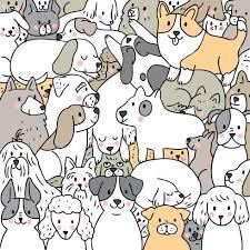 cartoon cute doodle dogs vector