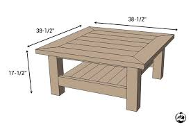 amazing coffee table dimensions square coffee table w planked top free diy plans