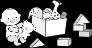 積み木とおもちゃ箱 無料イラストフリー素材