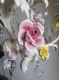 italian vintage chandelier with porcelain flowers lorella dia pink rose chandelier