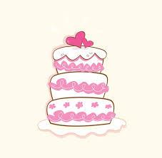 Wedding Cake Pink Decorative Sweet Cake Vector Illustration Wall