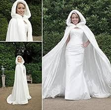 <b>Bridal Winter</b> Hooded Faux Fur Trim Satin <b>Wedding</b> Jacket <b>Cloak</b> ...