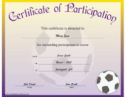 Free Soccer Certificate Templates Free Soccer Participation Certificate Printable