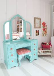Teal And Pink Bedroom Decor Cute Dressing Table Redo For A Little Girl Or Teen Cottage