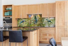 tui portrait printed image on glass kitchen splashbacktropical kitchen auckland