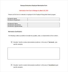 Employee Recognition Form Template Employee Recognition Nomination Form Template Award Nomination Form