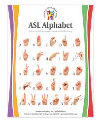 Asl Sign Chart Free Asl Alphabet Chart American Society For Deaf Children