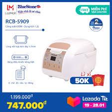 Nồi cơm điện tử BlueStone RCB-5909 1.2L - Công nghệ nhiệt Fuzzy Logic -  Lòng nồi dày 1.7mm cao cấp - Cho gia đình 3-4 người - Bảo hành 2 năm - Hàng  Chính Hãng - PolyXGO