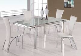 5 pc sleek led design dining set with elegant white chairs global furniture usa